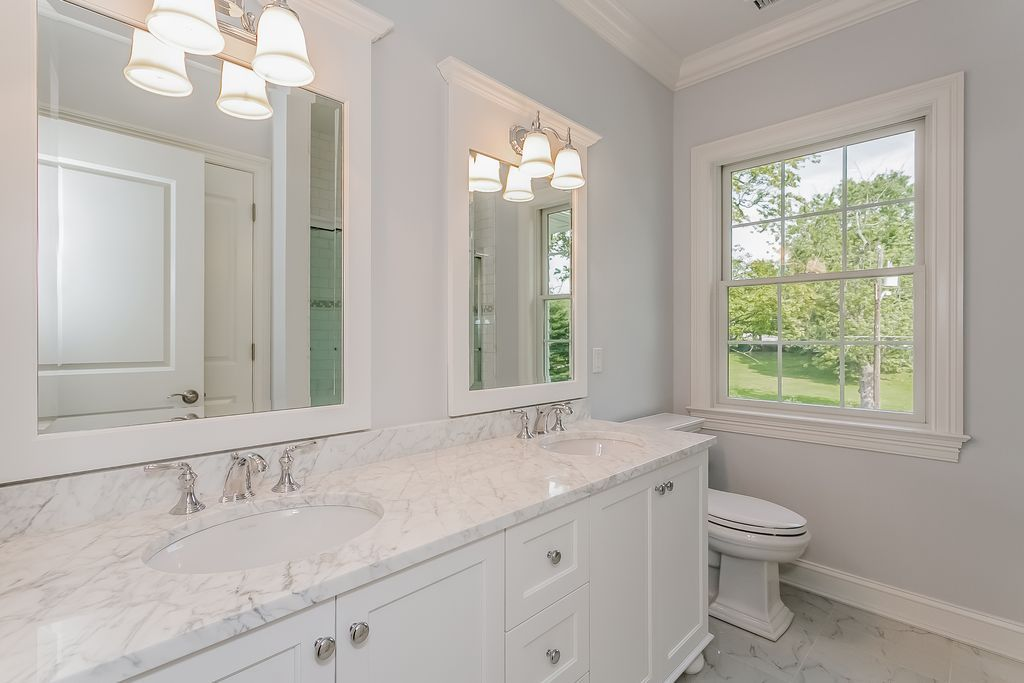 Traditional Full Bathroom with Cologne 2 Light Bathroom Vanity Light, Crown molding, Undermount Sink, Flat panel cabinets