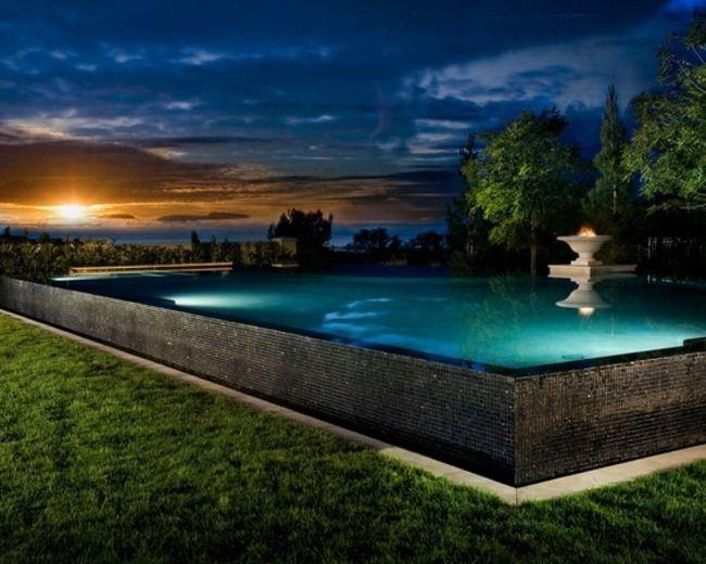 Pool freistehend Beleuchtung Abend houses Pinterest - pool mit glaswand garten