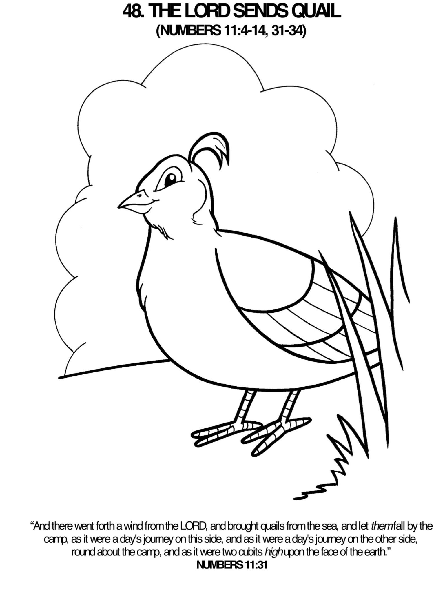 Coloring pages moses and ten commandments - Lord Sends A Quail Coloring Page