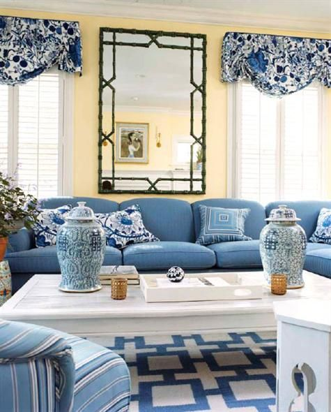 Preppy Classic And Fun Living Room In Blue White And