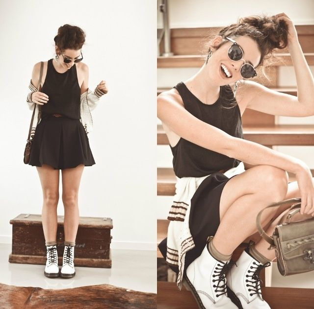 How To Still Look Chic While Wearing Dr Martens Boots Fashion Dr Martens Outfit White Dr Martens