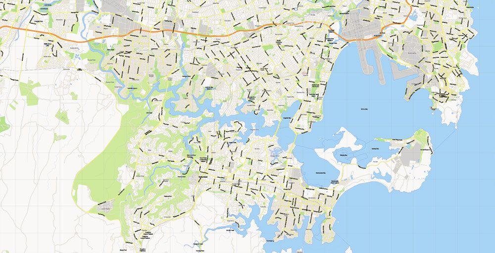 Street Map Australia.Sydney Vector Map Australia Printable City Plan V 3 08 Full Editable