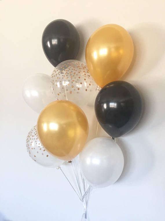 Black And Gold Balloon Bouquet White