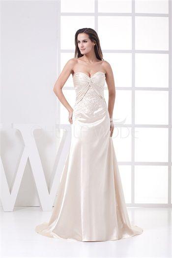 Robe de mariée élégante pas cher A-linge champagne ornée de broderie et de perles