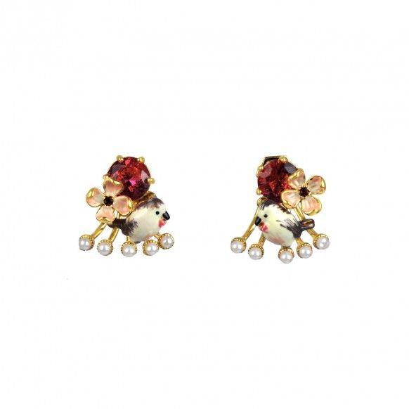 Boucles d'oreille rouge-gorge et perles de rivière rouge