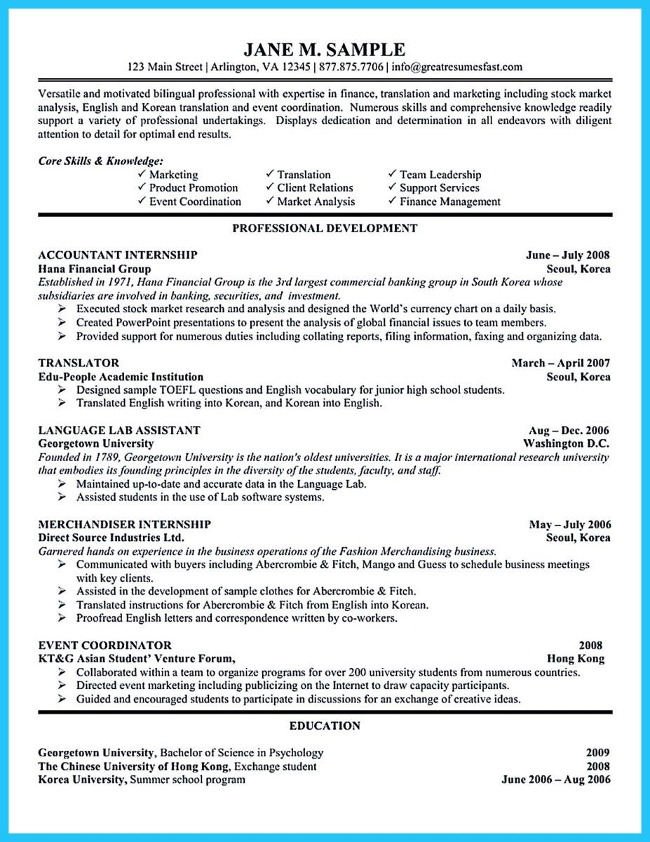Sample For Writing An Accounting Resume Internship Resume