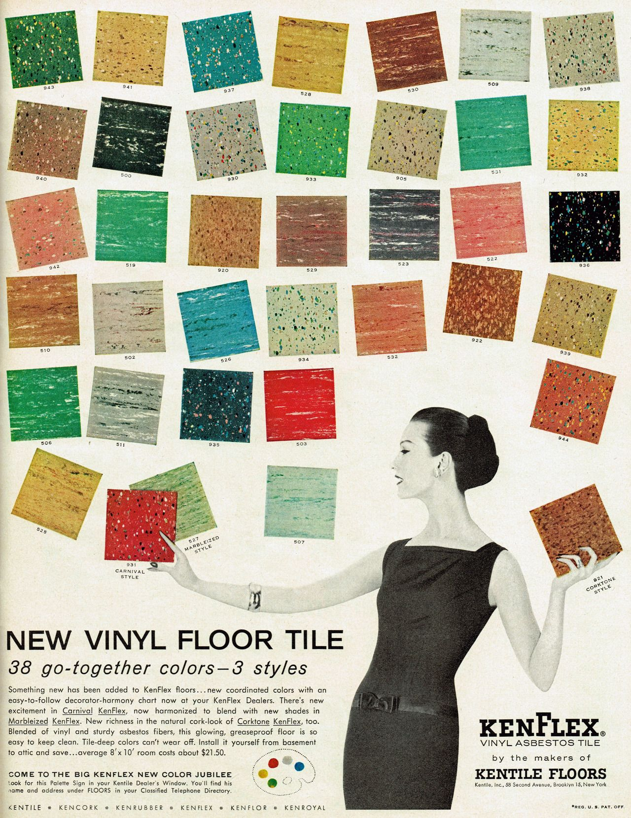 kenflex vinyl asbestos tile, 1956. she's so casually handling