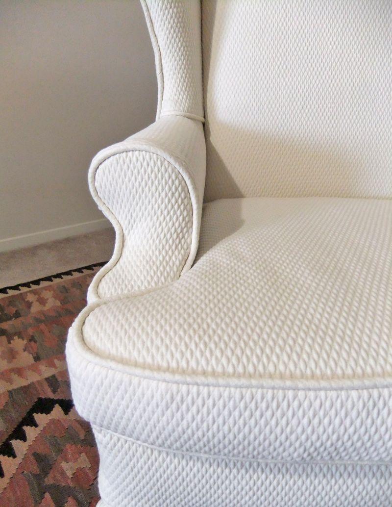 Custom matelasse slipcover for wing back chair ...