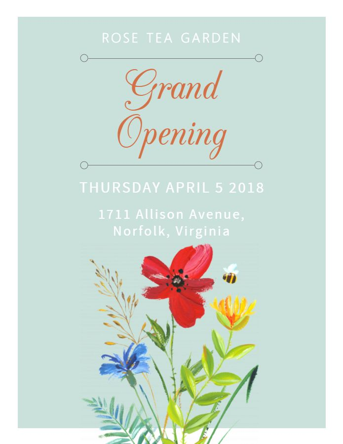 Flower Shop Grand Opening Event Flyer Poster Template Grand