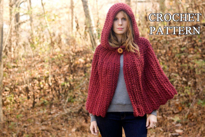 CROCHET PATTERN Hooded Cape Pattern, Crochet Cloak Pattern, Red Riding Hood Capelet, Instant Download by WellRavelled on Etsy https://www.etsy.com/listing/210388208/crochet-pattern-hooded-cape-pattern