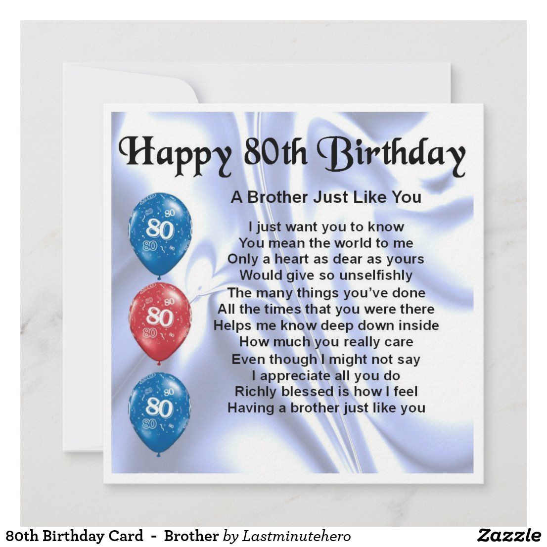 80th birthday card brother zazzlecouk 80th