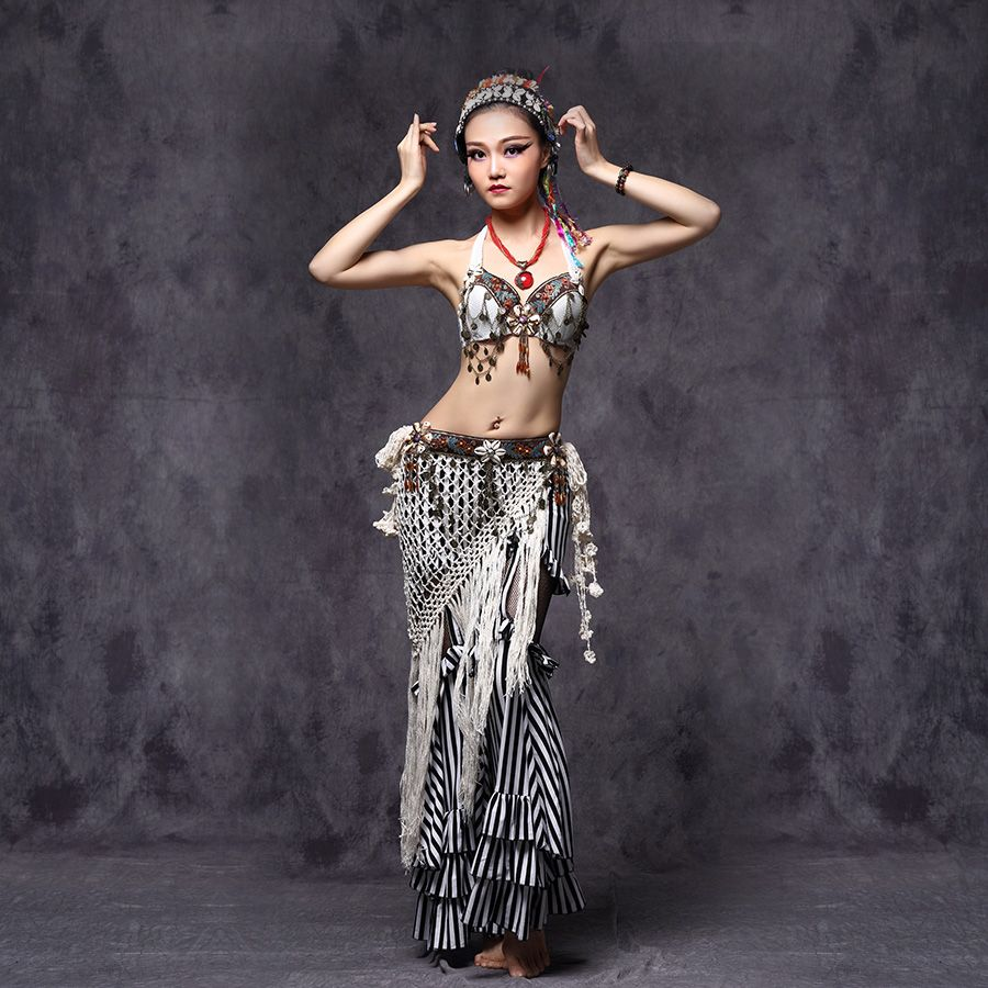 a1ca0efcd Tribal Belly Dance Clothes Outfit Sexy Embroid Tops Hip Belt and Pants  Women Tribal Dance Costume