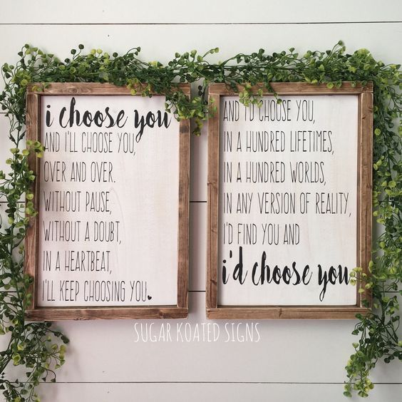 I Choose You, I'd Choose You Engraved Wood Sign Set, Quote, Bedroom Decor, Wedding Gift, Anniversary, Rustic Sign, Farmhouse