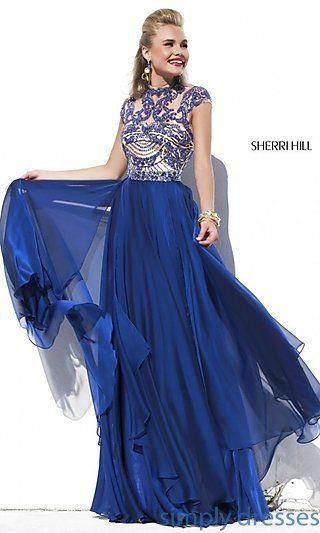 63843b3139b Cap Sleeve Long Beaded Prom Dress Sherri Hill 1933 at SimplyDresses.com