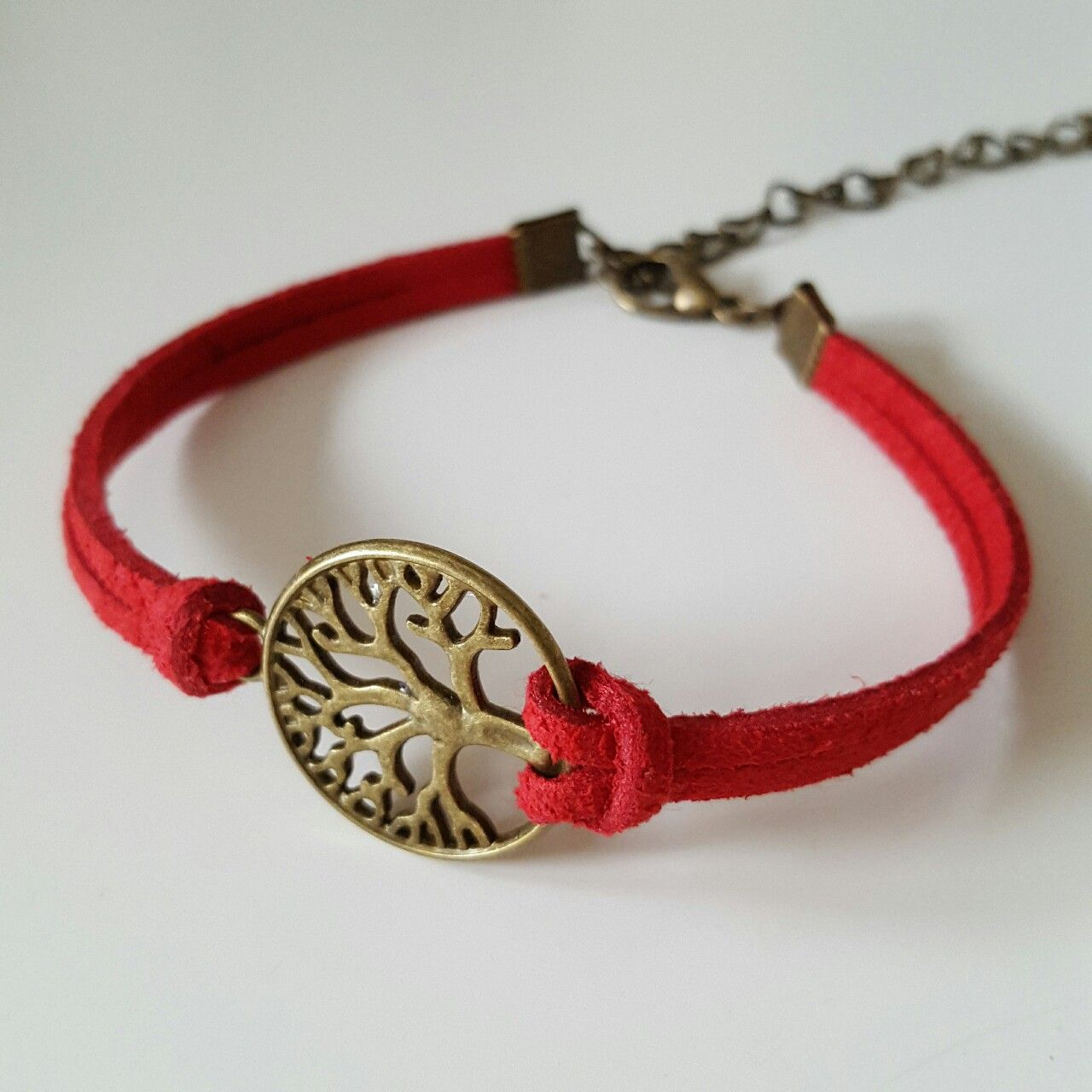 Handmade Red Suede Bronze Tree Of Life Charm Bracelet. #red #suede #bronze #tree #life #bracelet #marlarbracelets #handmade #simple #elegant #casual #unisex #symbol #fashion #freedom #friendship #gift #gorgeous #new #depop #summer #ireland #irish #2016