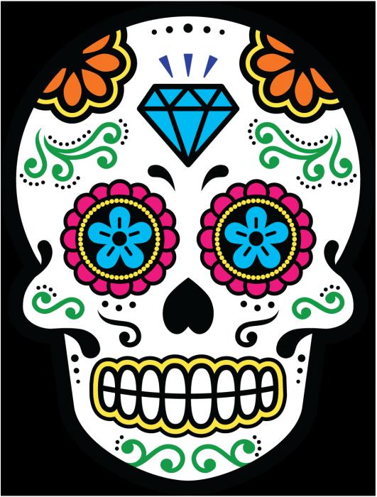 sticker calavera tete de mort mexicaine 22. Black Bedroom Furniture Sets. Home Design Ideas