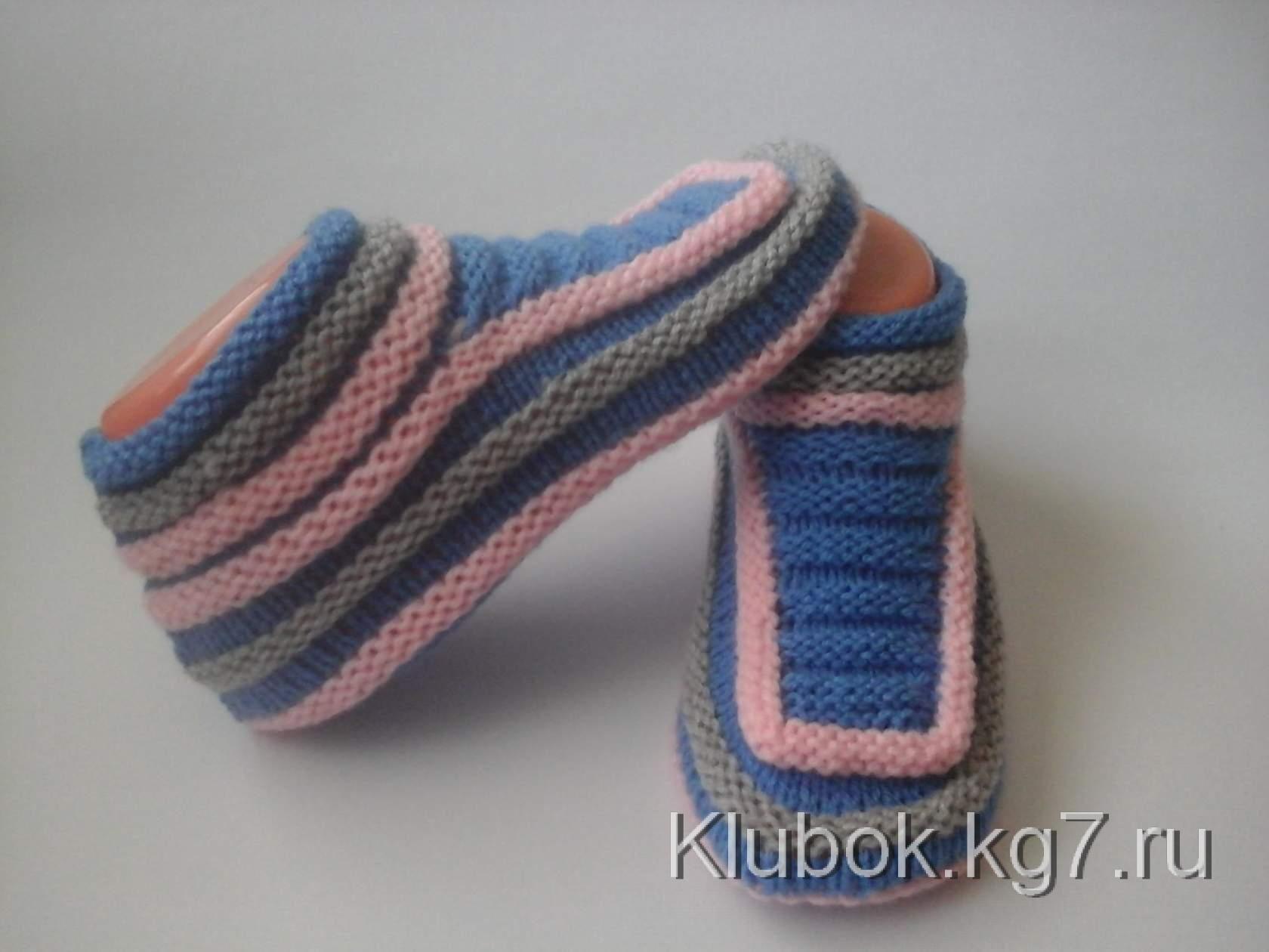 тапочки спицами надежда токаренко вязание Knitting связанные