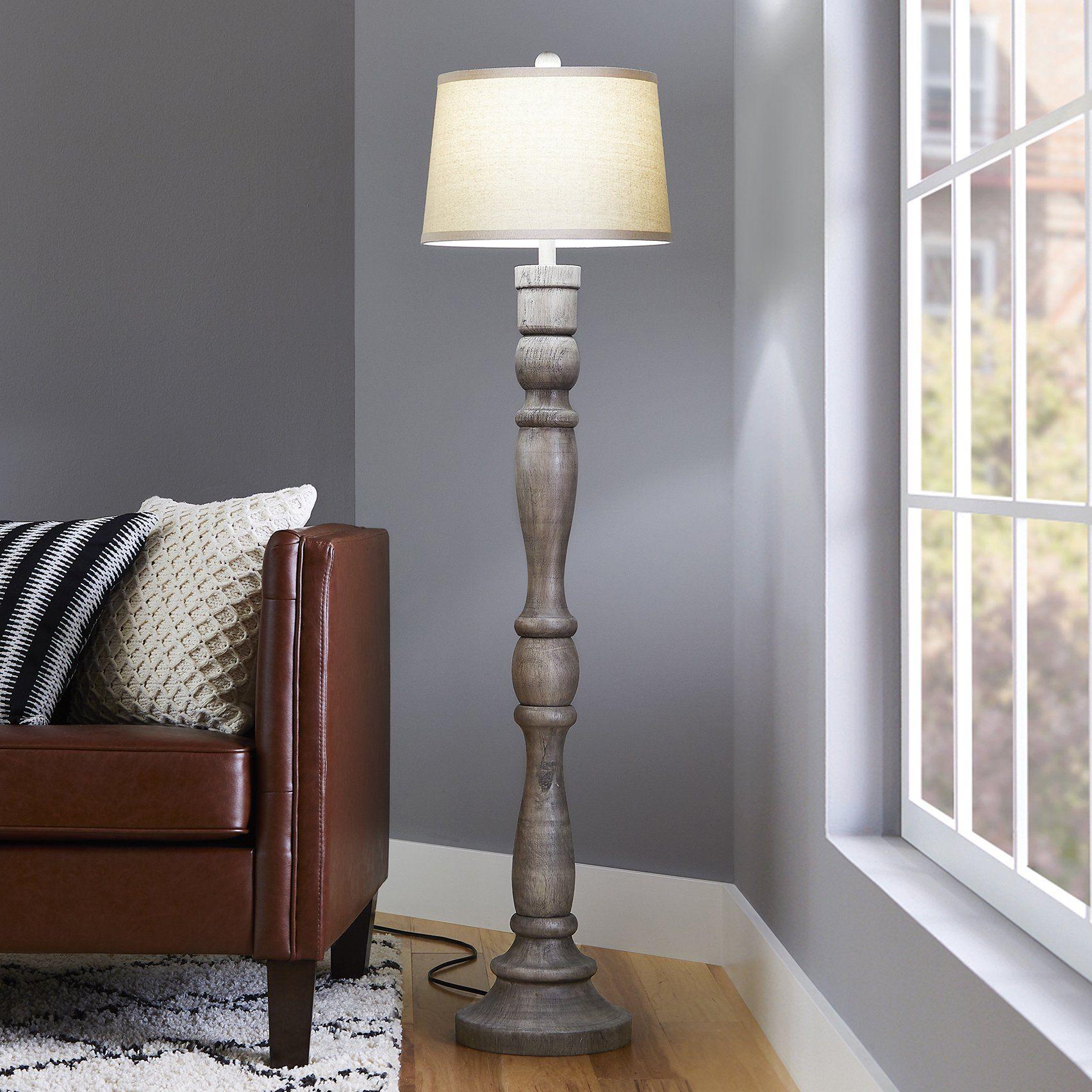 Better Homes Gardens 59 5 Gray Weathered Wood Finish Floor Lamp Walmart Com In 2021 Wood Floor Lamp Floor Lamps Living Room Floor Lamp
