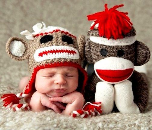 #Newborn #photography Baby boy Curious George knit crochet cap ToniK  ~•❤• Bébé •❤•~  #birth #announcement idea for a boy or girl