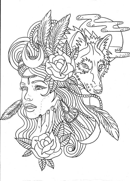 Wolf girl colouring page | Coloring Pages 4 Adults ...