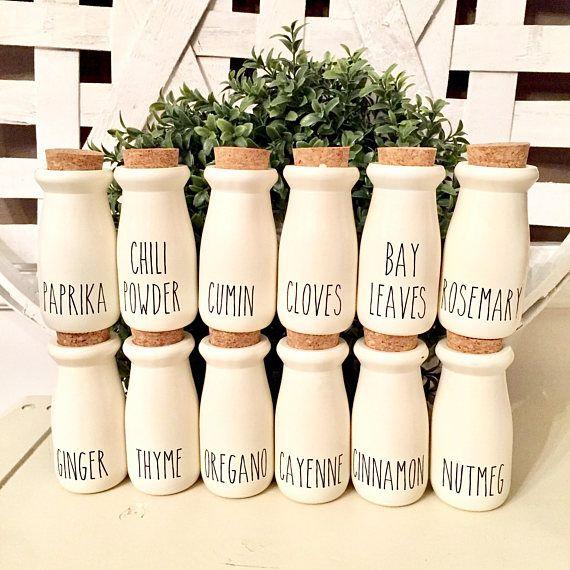 rae dunn inspired spice glass jars