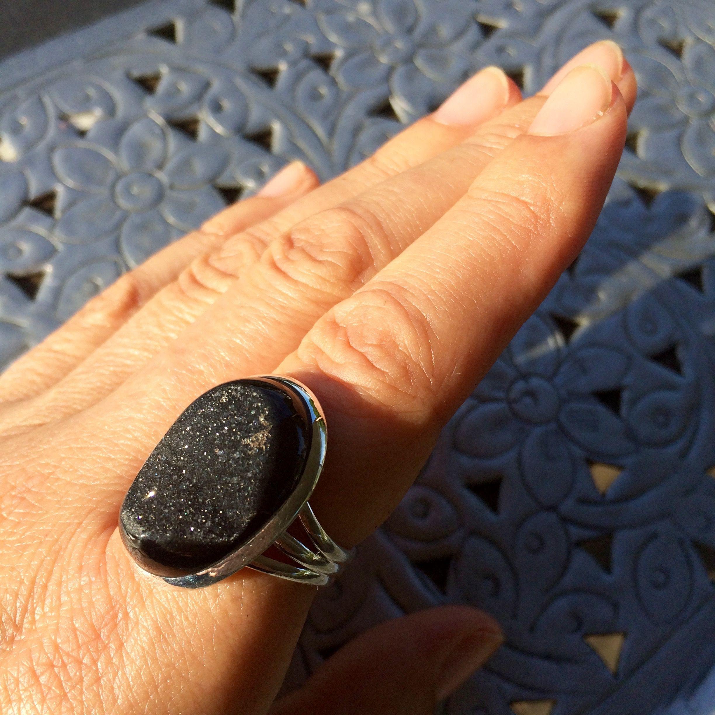 Black Onyx Druzy 925 Sterling Silver Ring www.branchingspirit.com