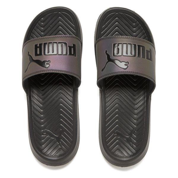 Puma Women's Popcat Swan Slide Sandals - Puma Black ($22) ❤ liked on  Polyvore