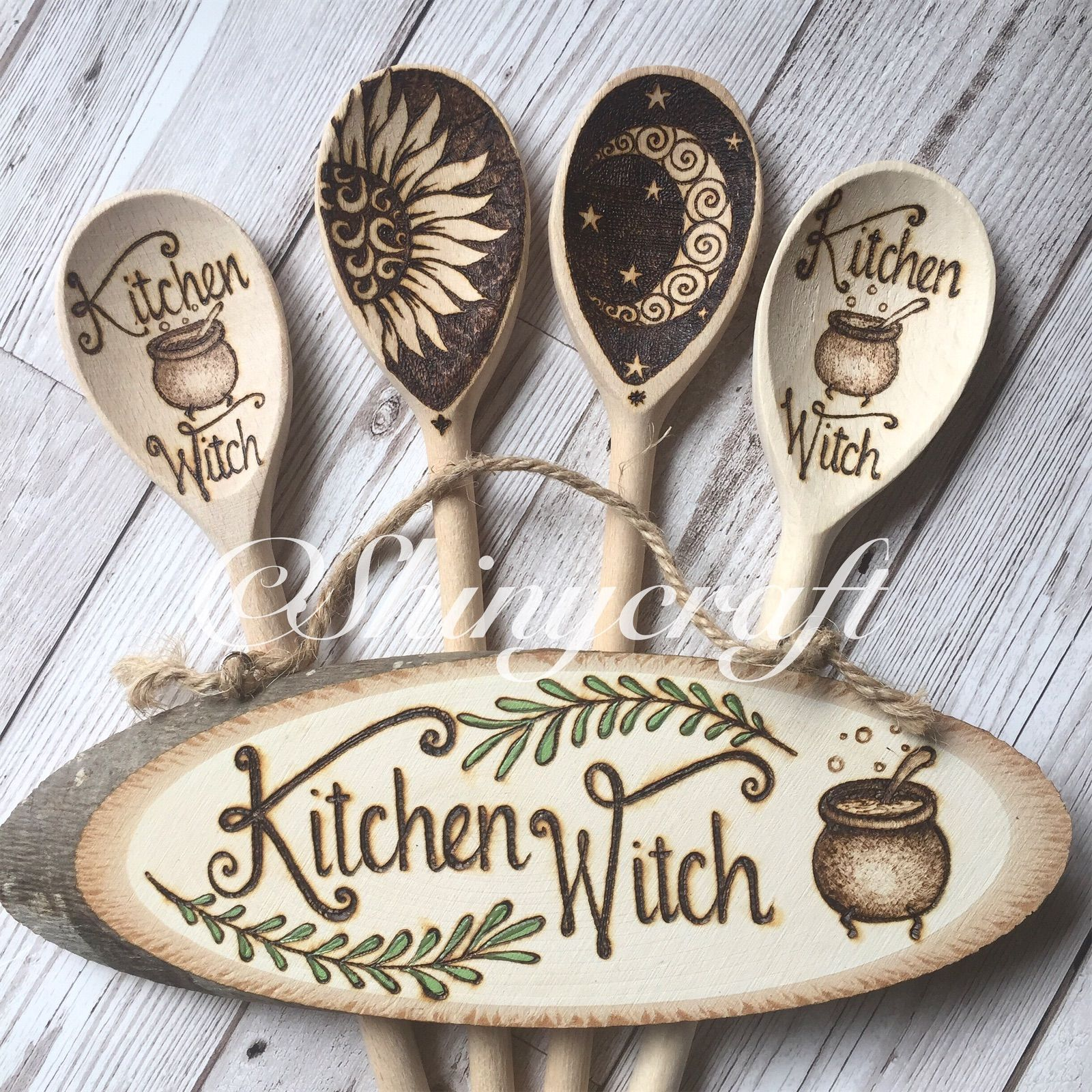 Pyrography Wooden Chopping Board Witch Cook Wicca  Kitchen Witchery Handburned with a cauldron and Kitchen Witch quote