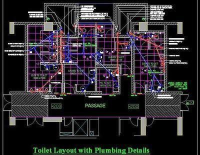Plumbing Design Ladies and Gents Toilet DWG Drawing Detail#design #detail #drawing #dwg #gents #ladies #plumbing #toilet
