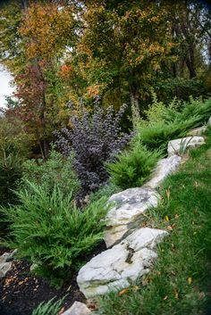Landscaping on a hillside with boulders