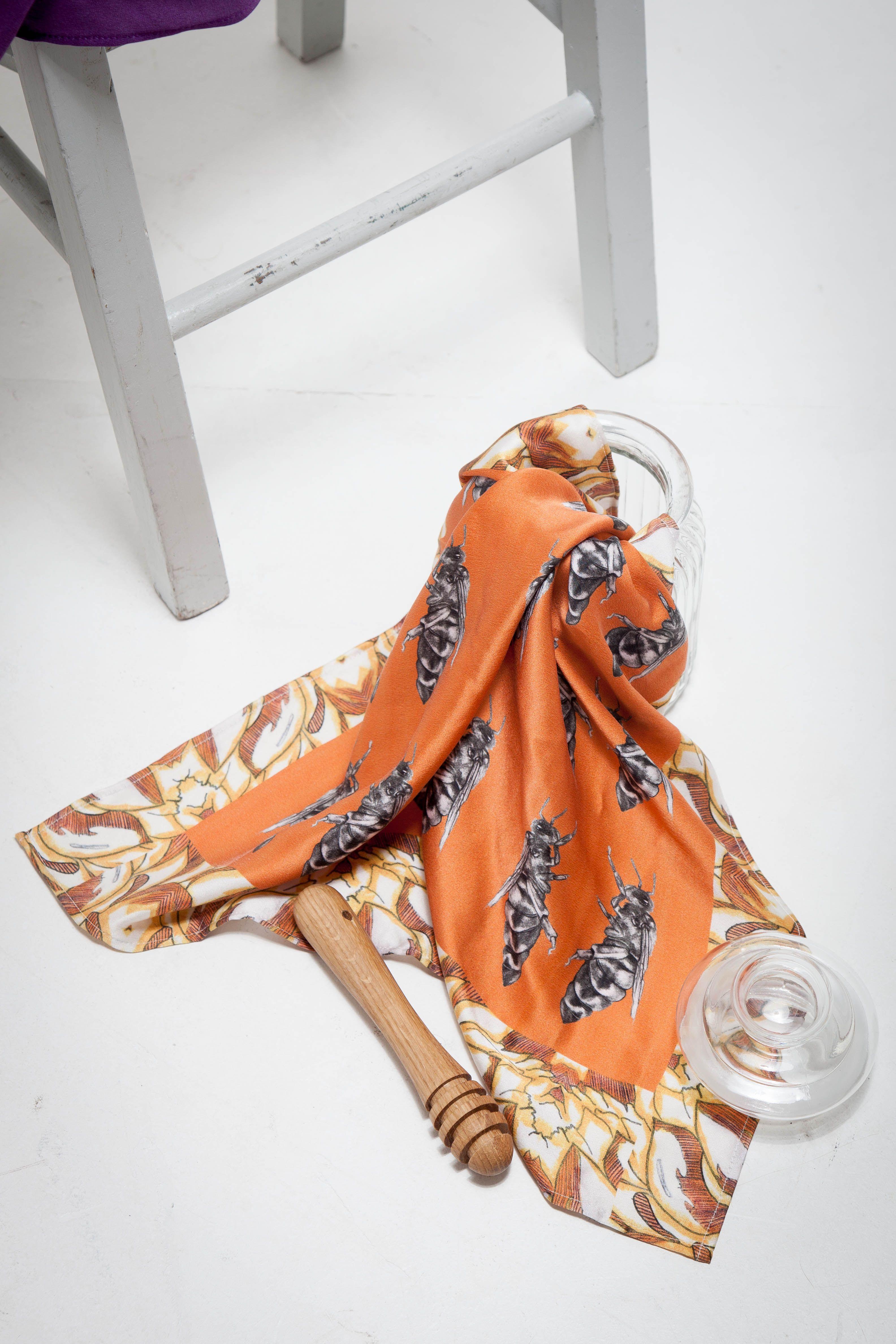 Queen Bee Silk Scarf Honey Pot Silk Satin Burnt Orange Made In Scotland Silk Scarf Queen Bees Fashion