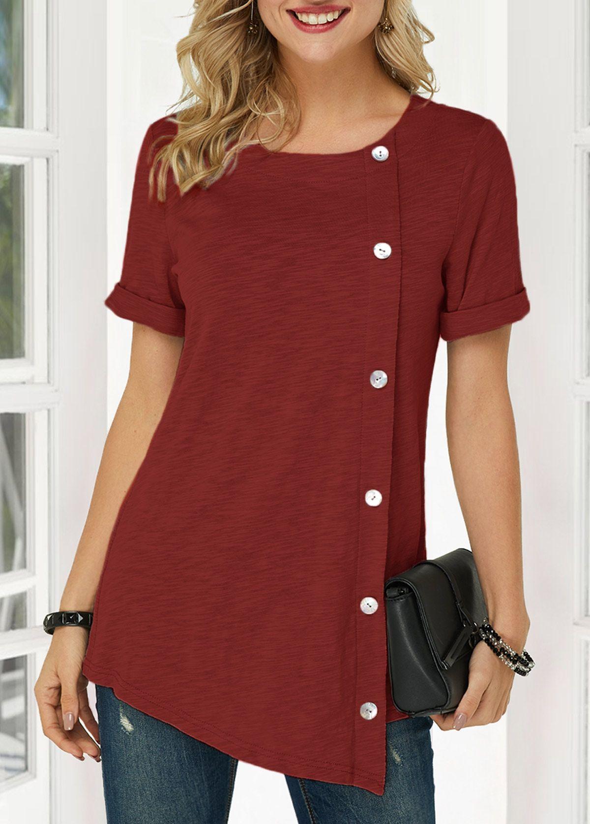 Button Detail Wine Red Asymmetric Hem T Shirt | modlily.com - USD $26.93