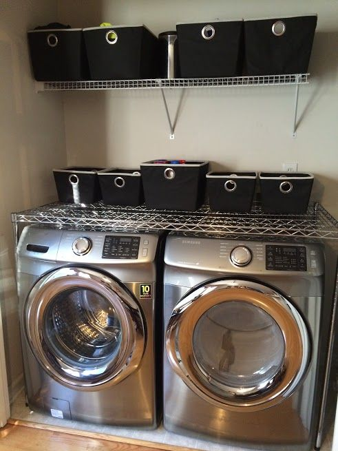 Wire Shelving Above The Washer And Dryer To Create A Laundry Table