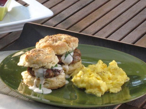 Buttermilk Biscuits With Eggs And Sausage Gravy Recipe Sausage Gravy Food Network Recipes Buttermilk Biscuits