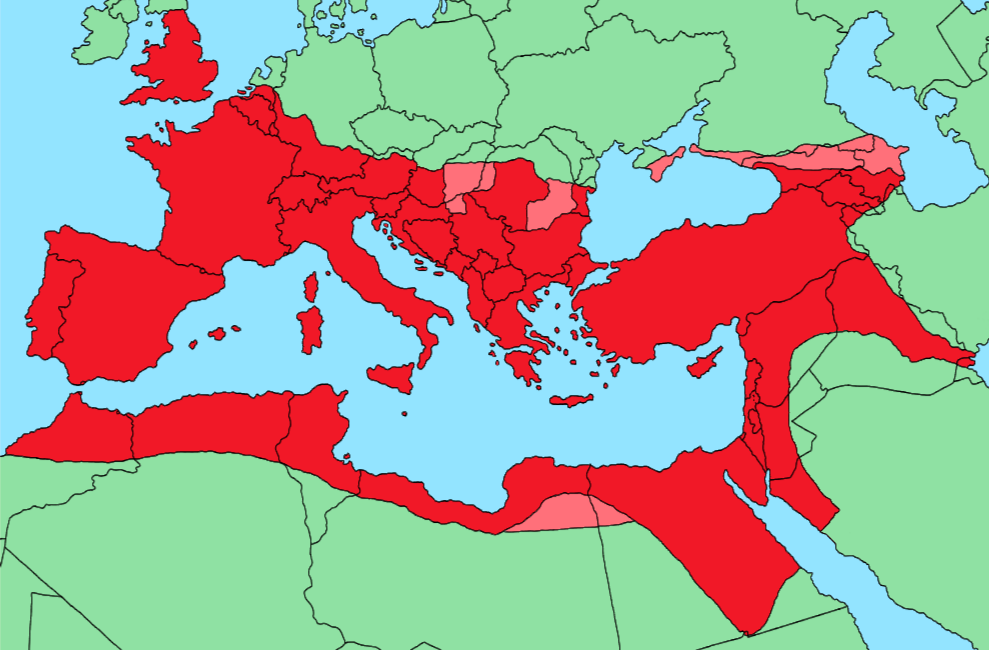 Roman Empire Map At Its Height The Roman Empire at its height, superimposed on modern borders in