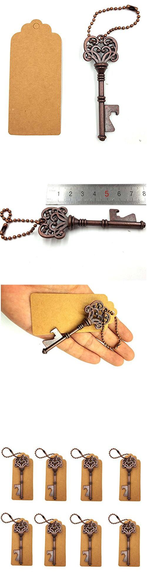 DerBlue 60 PCS Skeleton Key Bottle Openers Wedding Favors Antique ...