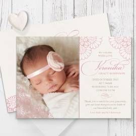 Pink And Cream Lace Photo Birth Announcement Cards Printed On Double