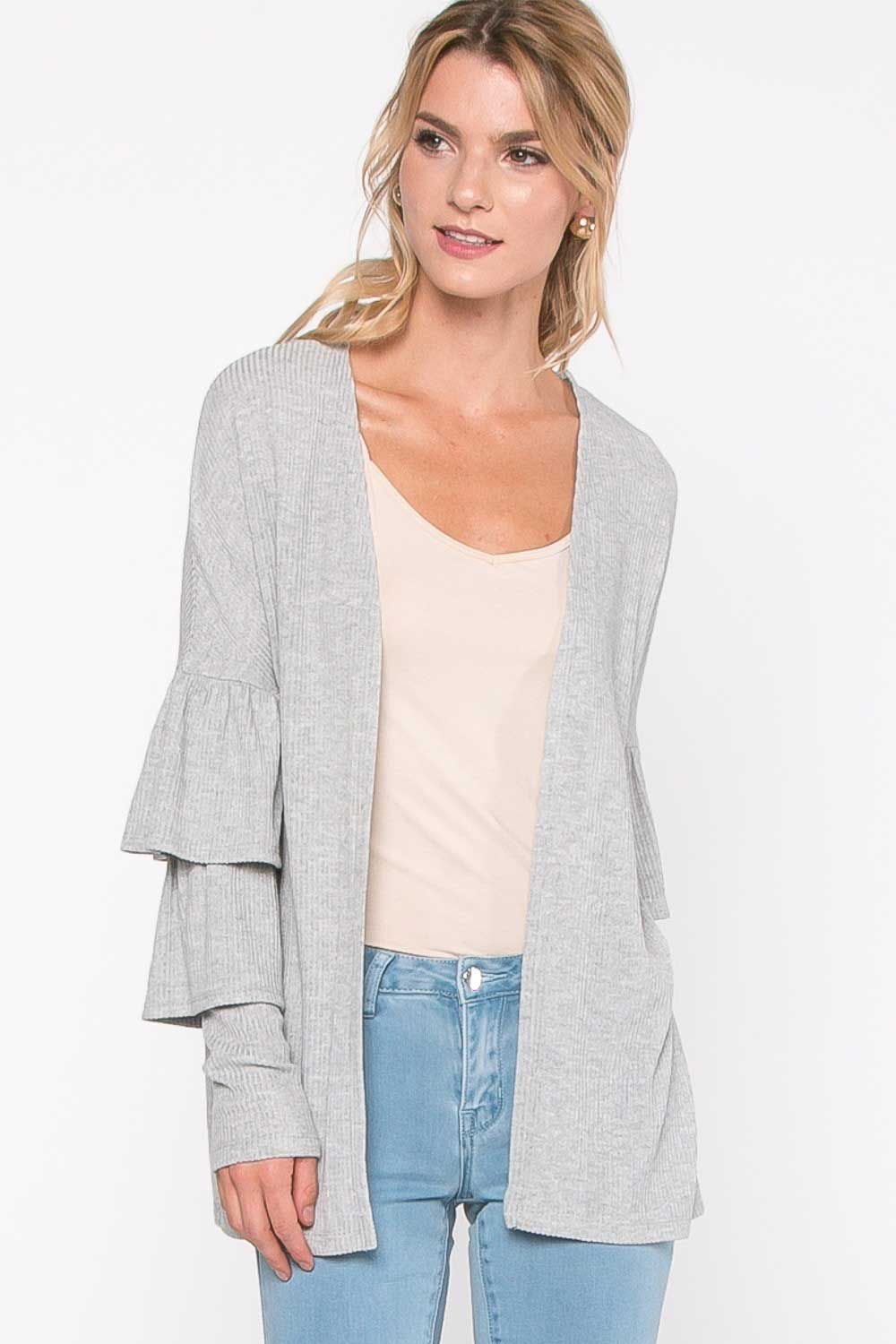 Everly Clothing Ribbed Cardigan with Ruffle Sleeves in Light Grey T12109