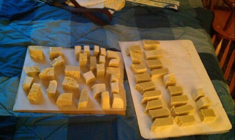 Homemade old fashioned olive oil lye soap. Cleans and