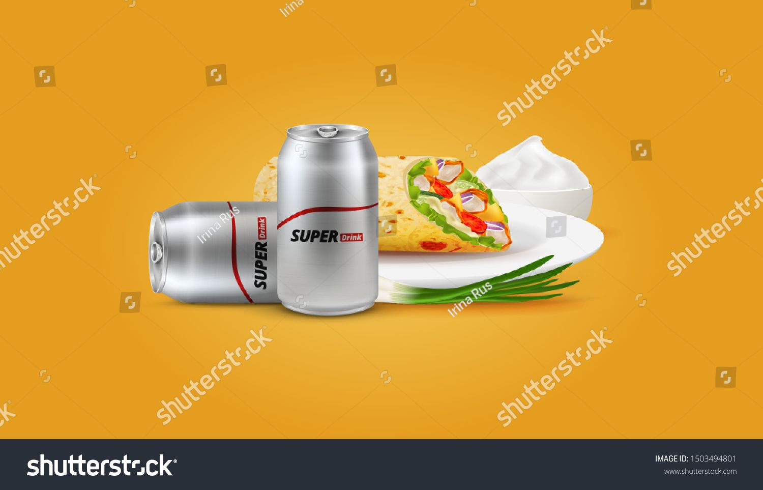 Vector Shawarma and Drink. Can, Beer. Meat and Vegetables. Tacos. Arab food. Pita. Dish. Plate. Sour Cream, Mayonnaise and onion. #Sponsored , #Sponsored, #Vegetables#Meat#Arab#Tacos