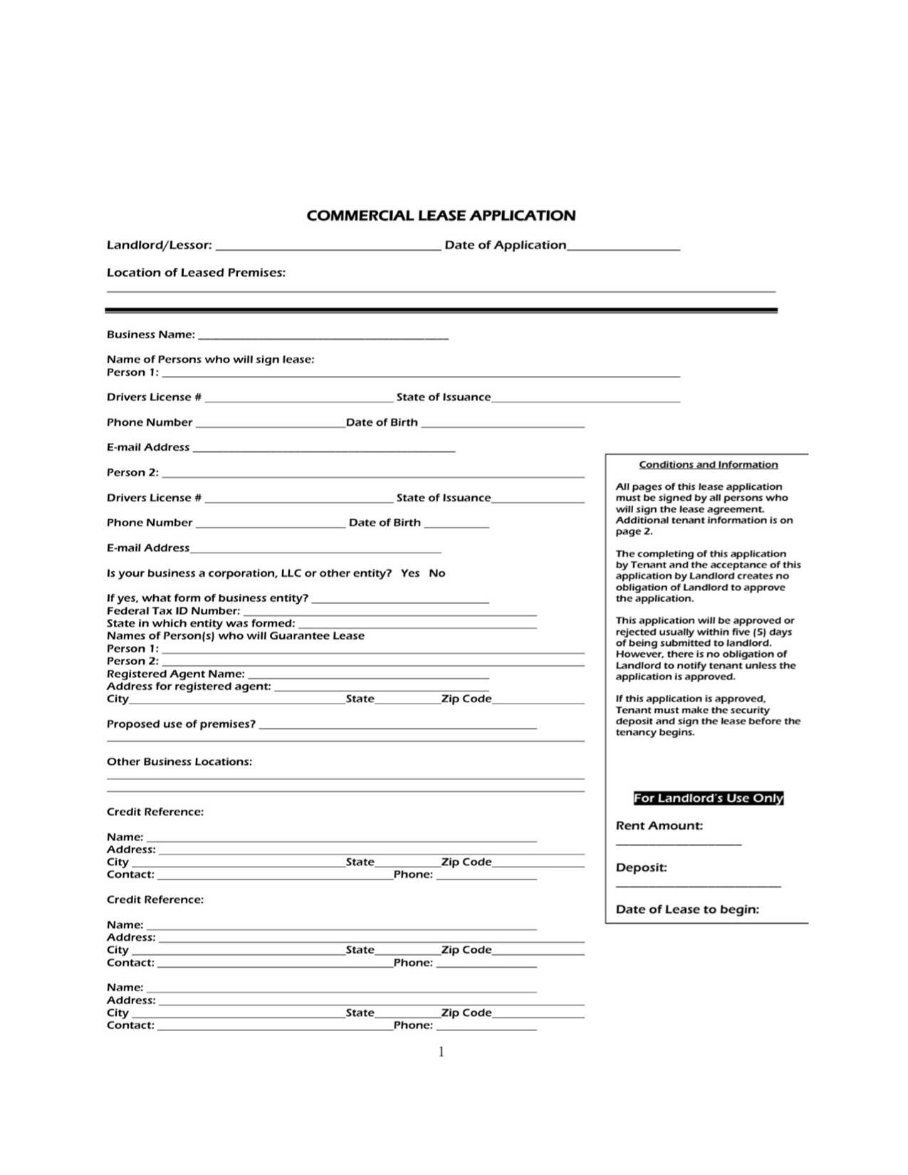 Commercial Lease Application Etsy Rental application