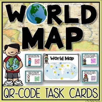World map qr code task cards activity qr codes activities and world map qr code task cards activity gumiabroncs Image collections