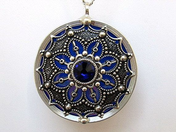 Stained Glass Pendant Necklace Medallion Filigree by JasGlassArt, $25.00