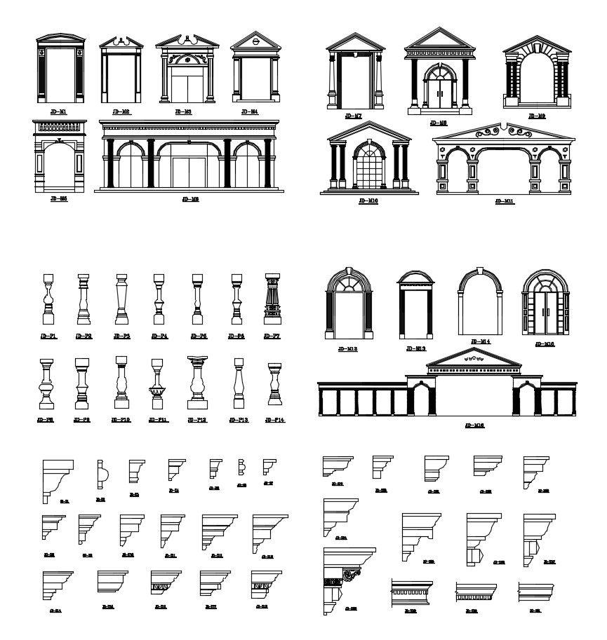 Ornamental Parts of Buildings 13 – CAD Design | Free CAD Blocks ...