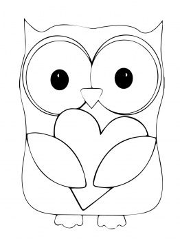 Black and White Valentine's Day Owl … | Owl coloring pages, Owl ... | 350x262