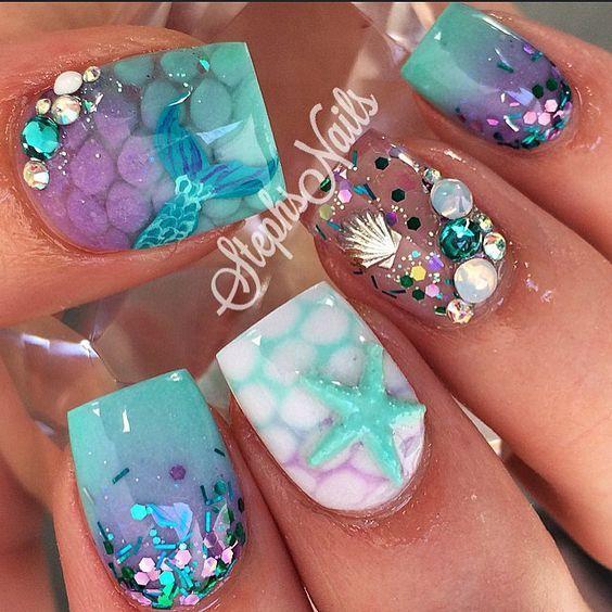 Mermaid Nails Mermaid Nails Cute Nails Nail Designs