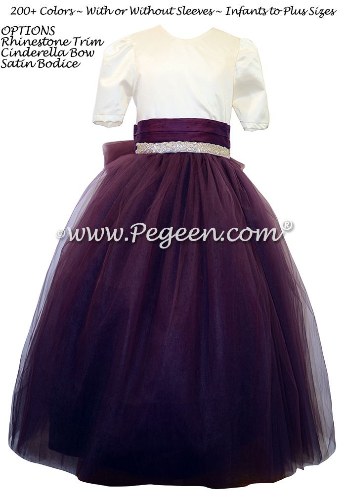 Eggplant and New Ivory silk flower girl dresses with rhinestones flower girl dress with layers of tulle by Pegeen
