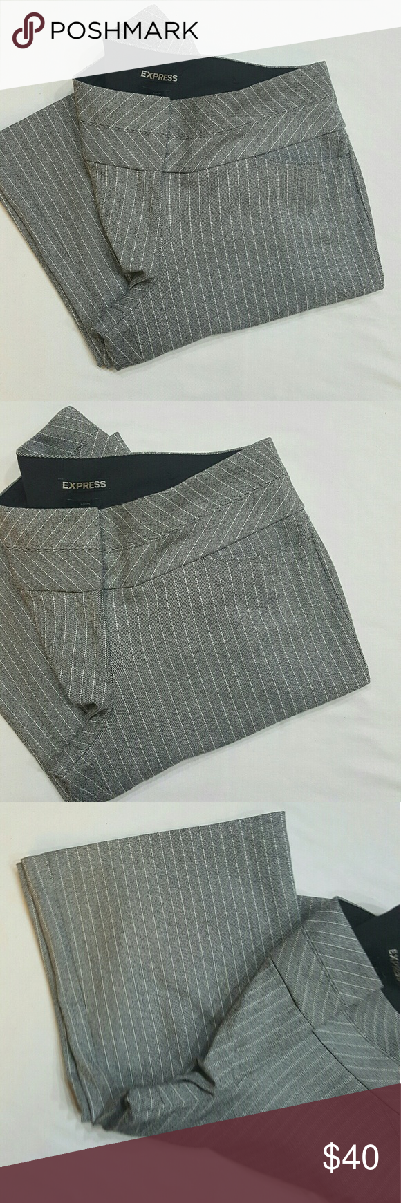 Express Editor grey striped pants Express Editor grey pants with white stripes. Wide leg in perfect condition like new no flaws. Size 6 regular. Express Pants Wide Leg