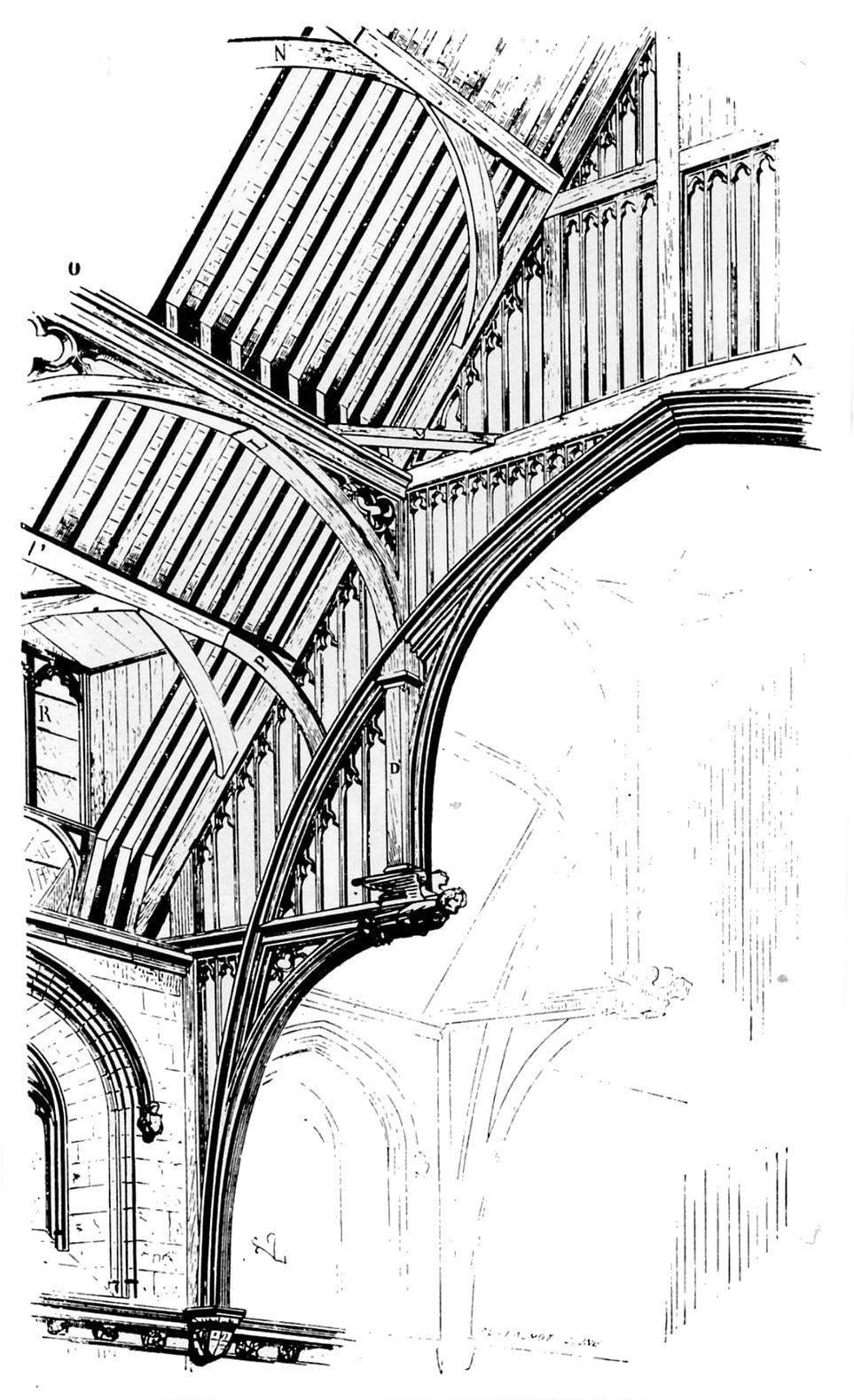 Westminster hall roof drawing by viollet le duc from for Dictionnaire architecture