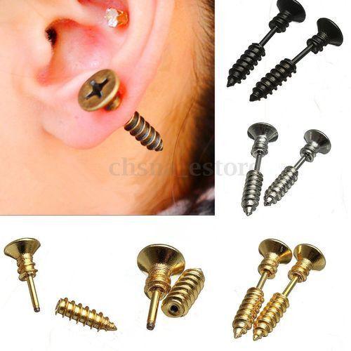 Cool Punk Mens Womens Uni Stainless Steel Whole Stud Earrings